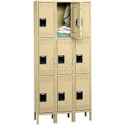 Tennsco Stee Locker TTK-121824-3 053 - Triple Tier w/Legs 3 Wide 12x18x24, Unassembled, Light Grey