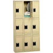 Tennsco Stee Locker TTK-121824-C 02 - Triple Tier No Legs 3 Wide 12x18x24, Unassembled, Medium Grey