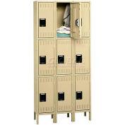 Tennsco Stee Locker TTS-121224-3 02 - Triple Tier w/Legs 3 Wide 12x12x24 Assembled, Medium Grey