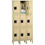 Tennsco Stee Locker TTS-121224-3 053 - Triple Tier w/Legs 3 Wide 12x12x24 Assembled, Light Grey