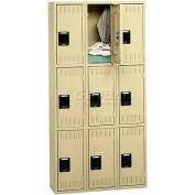 Tennsco Stee Locker TTS-121224-C-SND - Triple Tier No Legs 3 Wide 12x12x24 Assembled, Sand