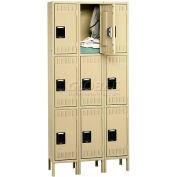 Tennsco Stee Locker TTS-121524-3-SND - Triple Tier w/Legs 3 Wide 12x15x24 Assembled, Sand