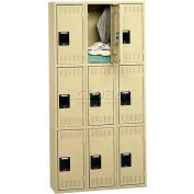 Tennsco Stee Locker TTS-121524-C-LGY - Triple Tier No Legs 3 Wide 12x15x24 Assembled, Light Grey
