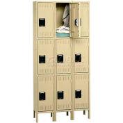 Tennsco Stee Locker TTS-121824-3-MGY - Triple Tier w/Legs 3 Wide 12x18x24 Assembled, Medium Grey