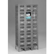 "Tennsco Ventilated Locker VBL6-1218-C 02 - Six Tier No Legs 3 Wide 12""x18""x12"" Welded, Med. Gray"
