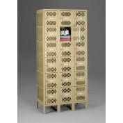 "Tennsco Ventilated Locker VBL6-1218-C 214 - Six Tier No Legs 3 Wide 12""x18""x12"" Welded, Sand"