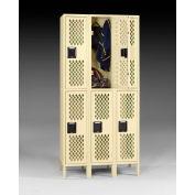 """Tennsco Ventilated Locker VDL-121836-3 214 -  Double Tier w/Legs 3 Wide 12""""x18""""x36"""" Welded, Sand"""