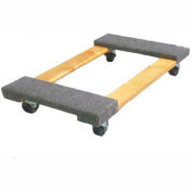 "Fairbanks Hardwood Dolly ED-26-1830-3HR - 30"" x 18"" - Carpeted Ends - 3"" Rubber Wheels - 1000 Lb."