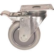 "Fairbanks Total Lock Swivel Caster TL-03-4-TPR - Thermoplastic Rubber 4"" Dia. - 225 Lb. Cap."