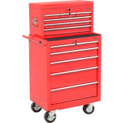 """Global™ 27"""" 5-Drawer Roller Tool Cabinet W/Ball Bearing Slides & 27"""" Top Tool Chest Combo, Red"""