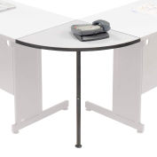 "Interion™ Rounded Corner Tabletop with Support Post, 24"" Radius, Gray"