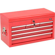 "Global™ Industrial 26""W X 12""D X 15""H 6 Drawer Red Top Chest W/ Clamshell Lid"