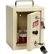 "Harloff Narcotics Box, Small, Single Door, Double Lock, 7""W x 7""D x 10""H - Beige"