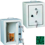"Harloff Narcotics Box, Small, Single Door, Double Lock, 7""W x 7""D x 10""H - Hammer Tone Green"