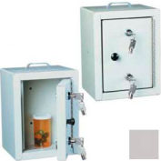 "Harloff Narcotics Box, Small, Single Door, Double Lock, 7""W x 7""D x 10""H - Light Gray"
