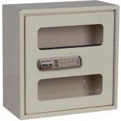 "Harloff See Thru Medicine Cabinet, Electronic Combo Lock, Single Door 12""W x 6""D x 12""H, Beige"