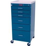 Harloff Mini-Line Tall Six Drawer Procedure Cart Key Lock, Hammertone Blue - 3156K