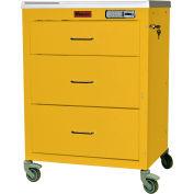 Harloff Mini24 Three Drawer Anesthesia Cart with Electronic Lock, Yellow - 4143E