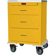 "Harloff Mini24 Three Drawer Infection Control with Bumper & 5"" Wheels, Key Lock, Yellow - 4243K"