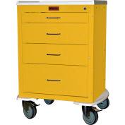 "Harloff Mini24 Four Drawer Infection Control with Bumper & 5"" Wheels, Key Lock, Yellow - 4244K"