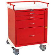 Harloff Classic Short Four Drawer Emergency Crash Cart, Standard Package, Red - 6300Q