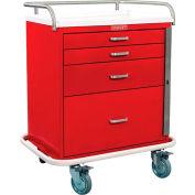 Harloff Classic Short Four Drawer Emergency Crash Cart Standard Package, Red - 6300