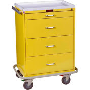 Harloff Classic Line Tall Four Drawer Isolation Cart Standard Package, Yellow - 6520