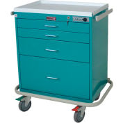 Harloff Four Drawer Anesthesia Cart Mech Combo Lock Standard Package, Navy - 7350E