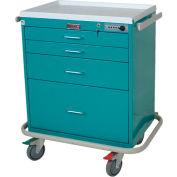 Harloff Four Drawer Anesthesia Cart Mech Combo Lock Standard Package, Yellow - 7350E