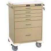 Harloff Six Drawer Procedure Cart Electronic Pushbutton Lock Standard Package, Beige - 7450E