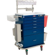 Harloff Six Drawer Anesthesia Cart Mech Combo Lock Deluxe Package, Hammertone Blue - 7456E