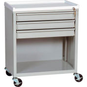 Harloff Treatment Cart with Three Drawers Lower Open Storage, Beige - ETC-3