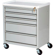 Harloff Compact Economy Treatment Cart with Five Drawers, Light Gray - ETC-5