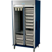 "Harloff Preset Double Column Cart, 42""W x 27-15/16""D x 80-1/2""H,Key Lock,HammerTone Blue,MS8140-VASC"