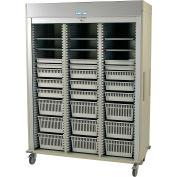"Harloff Triple Column Cart, 59-5/8""W x 27-15/16""D x 80-1/2""H, Key Lock, HammerTone Blue, MS8160-VASC"