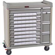 Harloff Standard Line Med-Bin Medication Cart 54 Patient Bin Drawers, Red - SL54BIN3