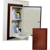 """Wooden Laminate In-Wall Medicine Cabinet w/Decorative Trim, 15-3/16""""W x 6-13/16""""D x 25""""H, Solara Oak"""