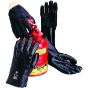"Jersey Lined PVC Gloves, Rough, 10"", Black, Large"