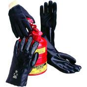 Jersey Lined PVC Gloves, Knit Wrist, Black, Large