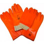 "Foam Lined PVC Gloves, 14"", Fluorescent Orange, Large"