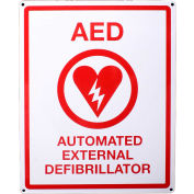 """First Voice™ AED Flat Wall Sign, 8"""" X 10"""", Metal"""