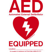 "First Voice™ AED Window Door Sticker ""AED Equipped"", 10/Pack"