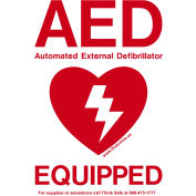 """First Voice™ AED Window Door Sticker """"AED Equipped"""", Weatherproof, 10/Pack"""
