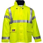 Tingley® Eclipse™ Hi-Visibility FR Hooded Coat, Zipper, Fluorescent Yellow/Green, 3XL