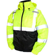 Tingley® J26112 Bomber II Hooded Jacket, Fluorescent Yellow/Green/Black, 2XL