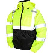 Tingley® J26112 Bomber II Hooded Jacket, Fluorescent Yellow/Green/Black, XL