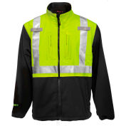 Tingley® Phase 2™ Hi-Vis Jacket, Zipper, Fluorescent Yellow/Green/Charcoal Gray, 4XL