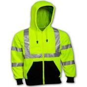 Tingley® S78122 Class 3 Hooded Sweatshirt, Fluorescent Lime, XL