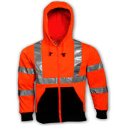 Tingley® S78129 Class 3 Hooded Sweatshirt, Fluorescent Orange, XL