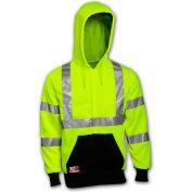 Tingley® Class 3 FR Hi-Vis Hooded Sweatshirt, Fluorescent Yellow Green/Black, 2XL